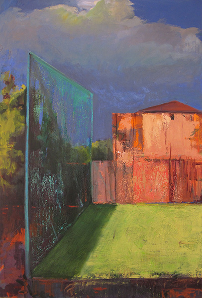Landscape with Pink Palazzo, 2013, 100x70cm oil on canvas